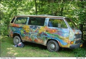 hippie van on the way to a rainbow gathering