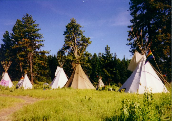 rainbow gathering tipi